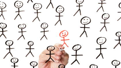 A red stick figure in a crowd of black stick figures.