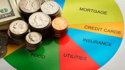A home budget divided by mortgage, credit cards, insurance, utilities, and food.