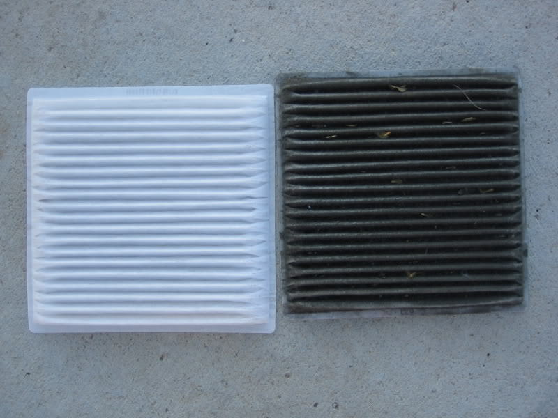 Clean versus dirty cabin air filter