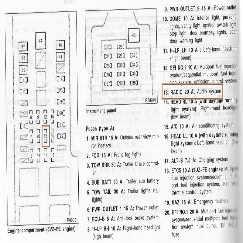 2008 toyota tundra fuse diagram 2007 tundra trailer light