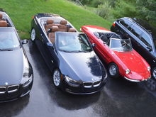 This is the collection as of July 2017.  Got another E93 and sold the E90 and trusty E39.  The red car is a '67 Alfa Romeo Duetto. .