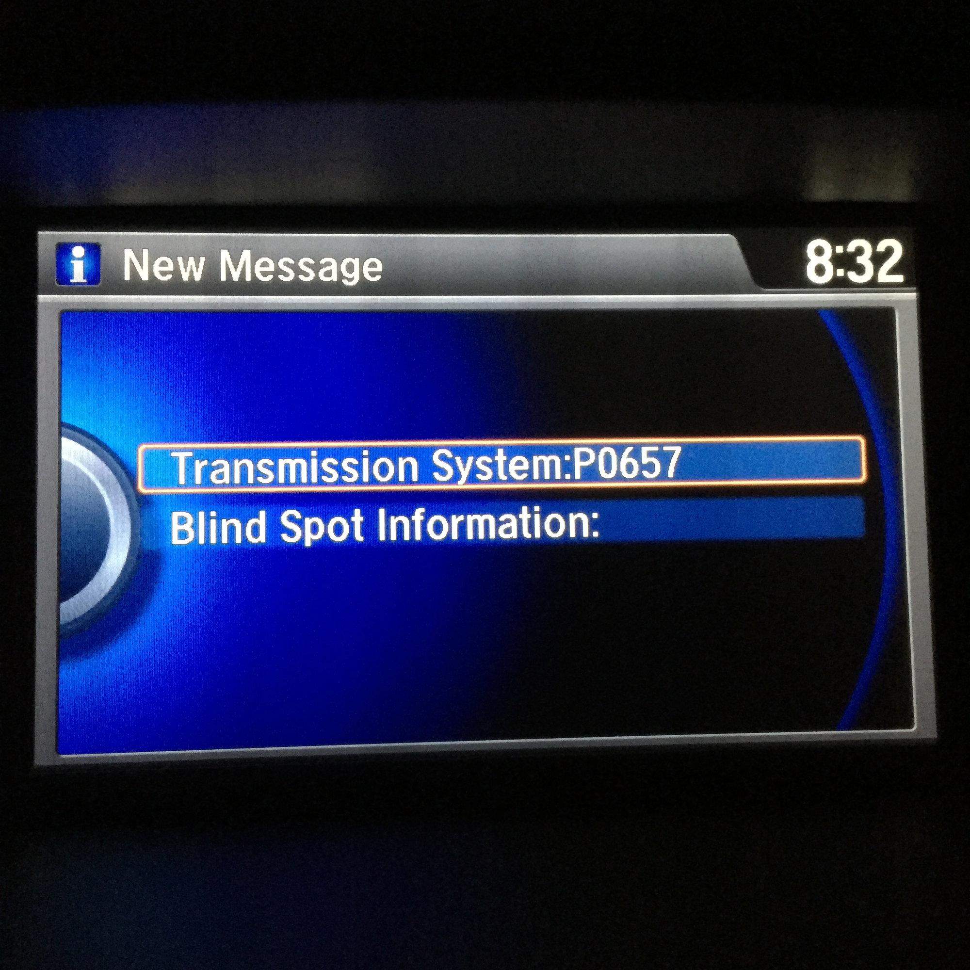 Transmission Fault Code P0657