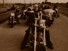 ADY AND RIDING CREW Harley Davidson Harley Guitar riding club SKARD rock band custom guitar fender drums drummer music rock music