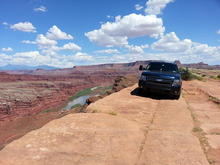 Outside of Moab, UT.  Parked at the edge of a 300-ft cliff.