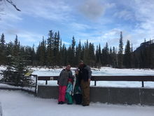 A picture of us at Athabasca Falls in Jasper, Alberta.