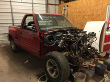 First picture that I have of the truck.  Sorry, didn't get a picture of the complete truck, got too excited to start tearing it apart