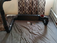 Excuse the fact that it's on a bed, the only decent place I had to mock up the intercooler piping. For those of you wondering about Chinese parts, I took the risk on this intercooler kit and for the price so far I'm very pleased, it's actually relatively high quality for the price ($150 Canadian shipped) and it came with plenty of bends and silicon connectors to make any set up possible. I will be further reviewing this product as it get installed on the truck and I use it.