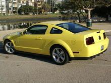 Yellow Mustang rear