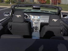 Latest 'Stang pictures 020 - Rear shot showing embroidered running horses on rear of headrests.  They are also on the front of the headrests to.