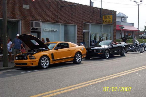 Parnelli Jones Saleen and My Mustang at one of the Pilot Cruise-Ins last year.