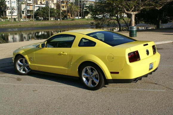 Yellow Mustang rear