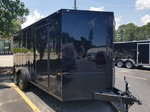 New Black Out Edition 7x14 Tandem Axle Motorcycle Trailer