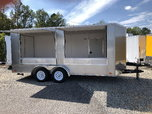 New 7x16 Pewter Double Vending Concession Window Trailer