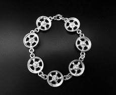 STERLING SILVER CHAIN LINK MAG WHEEL BRACELET