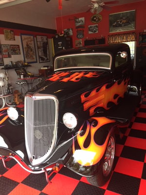 black and flamed hot rod