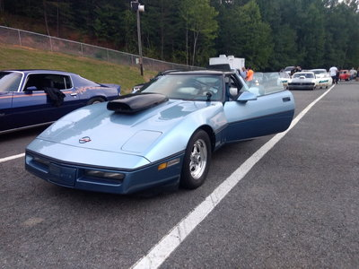 85 drag corvette with title -and 28ft trailer