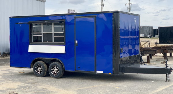 8.5x18TA Electric Blue Concession Trailer  for Sale $15,299