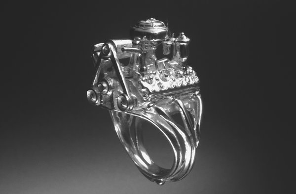 STERLING SILVER (92.5)FLAT HEAD ENGINE RING  for Sale $275