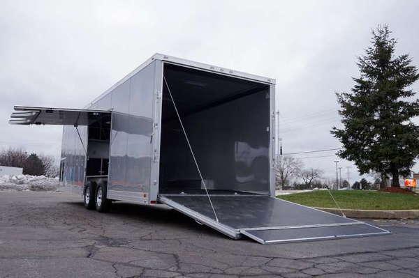 28' Aluminum Enclosed Car Hauler - Silver Frost