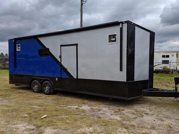 Silver/Blue 8.5x24 Racing Trailer w/Full Bath  for Sale $21,999