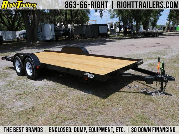 Red Hot 18' Car Trailer 7x18 w/ Slide-in Ramps - Wood Deck -