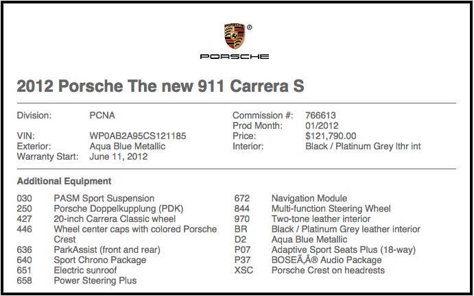More options than VIN build sheet  Rennlist  Porsche Discussion