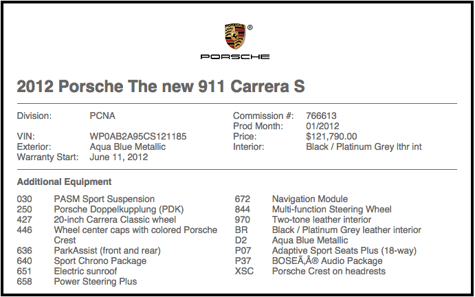 Porsche Vin Build Sheet ✓ Porsche Car