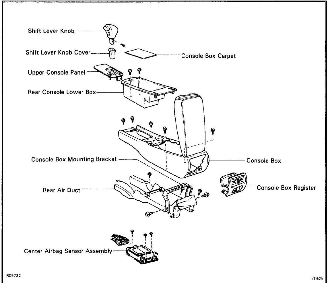 service manual  remove the center consal for a 2008 lexus