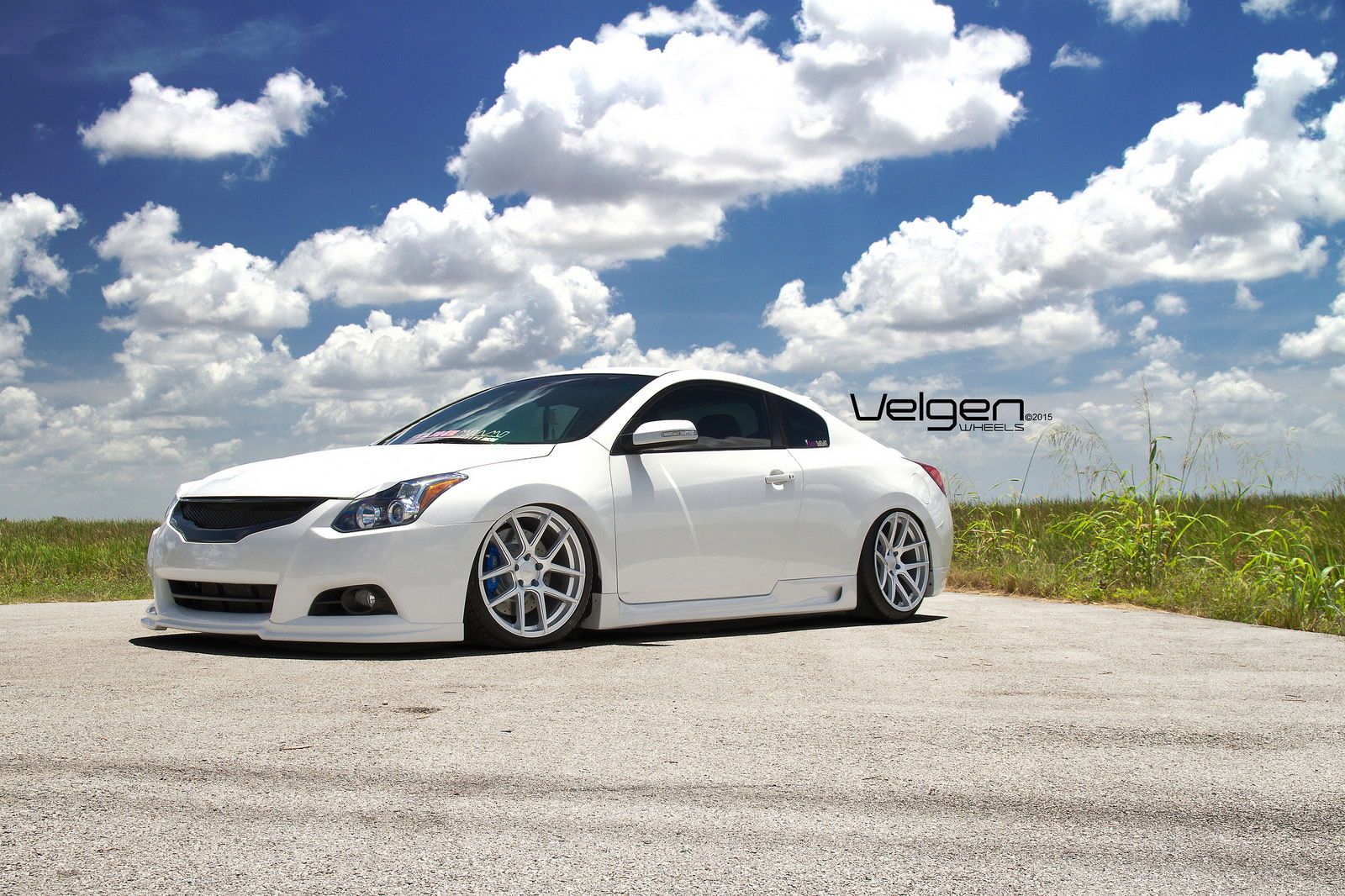 bagged nissan altima coupe on velgen wheels vmb5