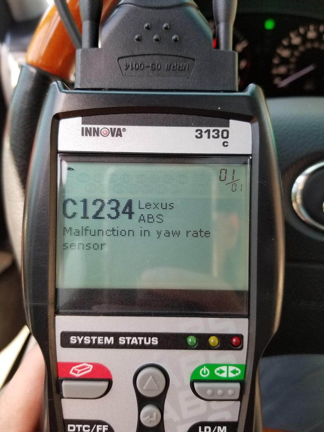 C1234 - Malfunction in yaw rate sensor - ClubLexus - Lexus Forum