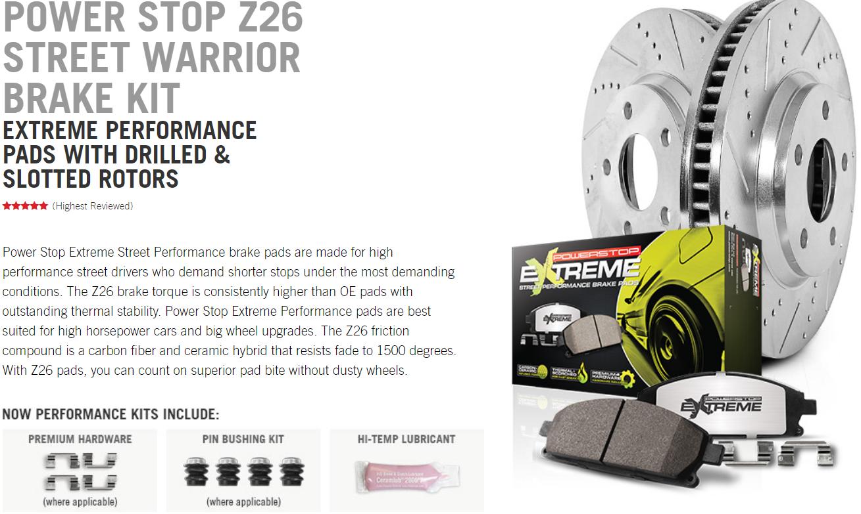 Power Stop Z26-1366 Rear Z26 Street Warrior Carbon-Fiber Ceramic Brake Pads