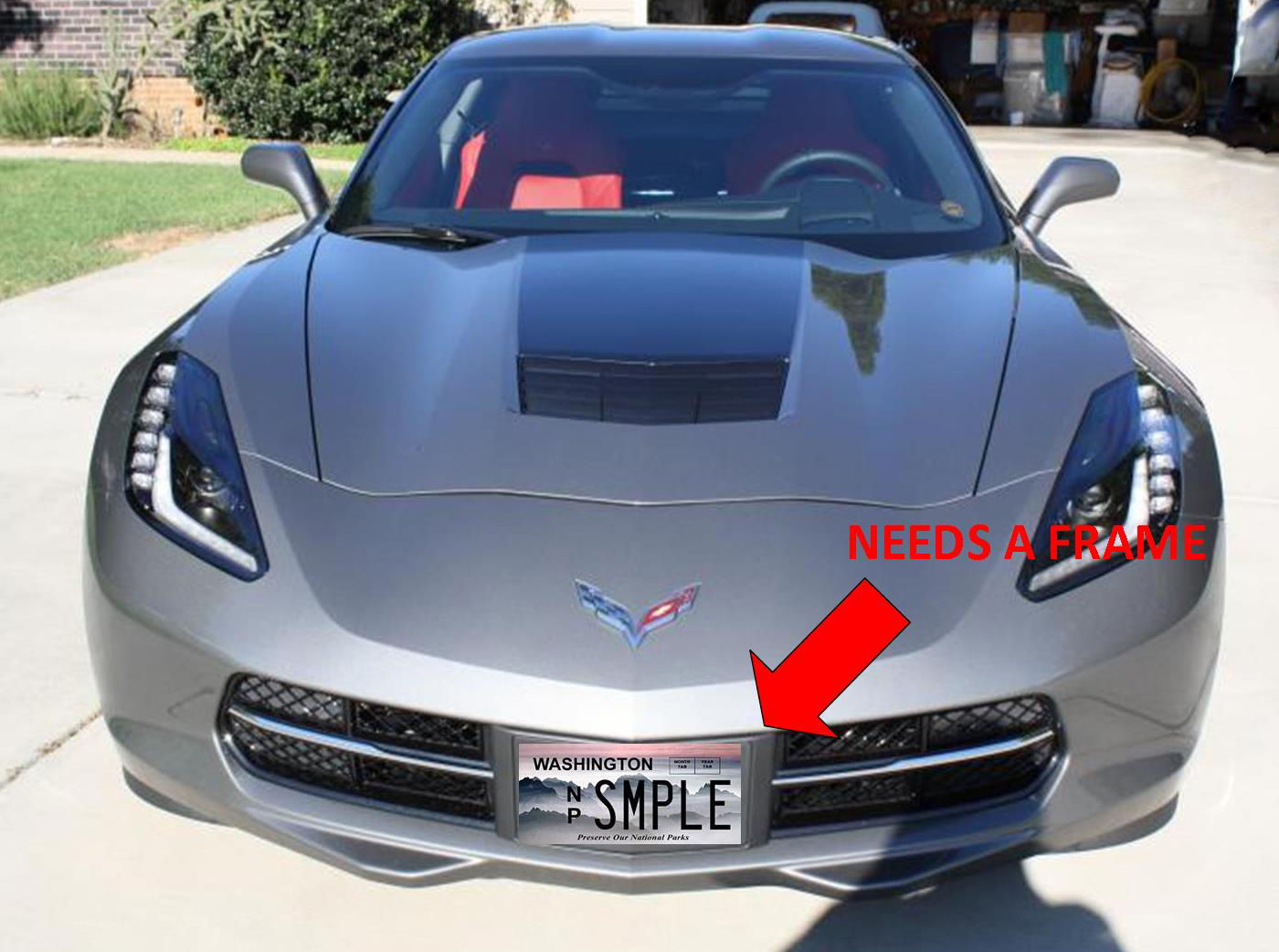 license plate frame that will fit the front aero panel on a c7 id like to find one the body color of the car shark gray or the color of the aero