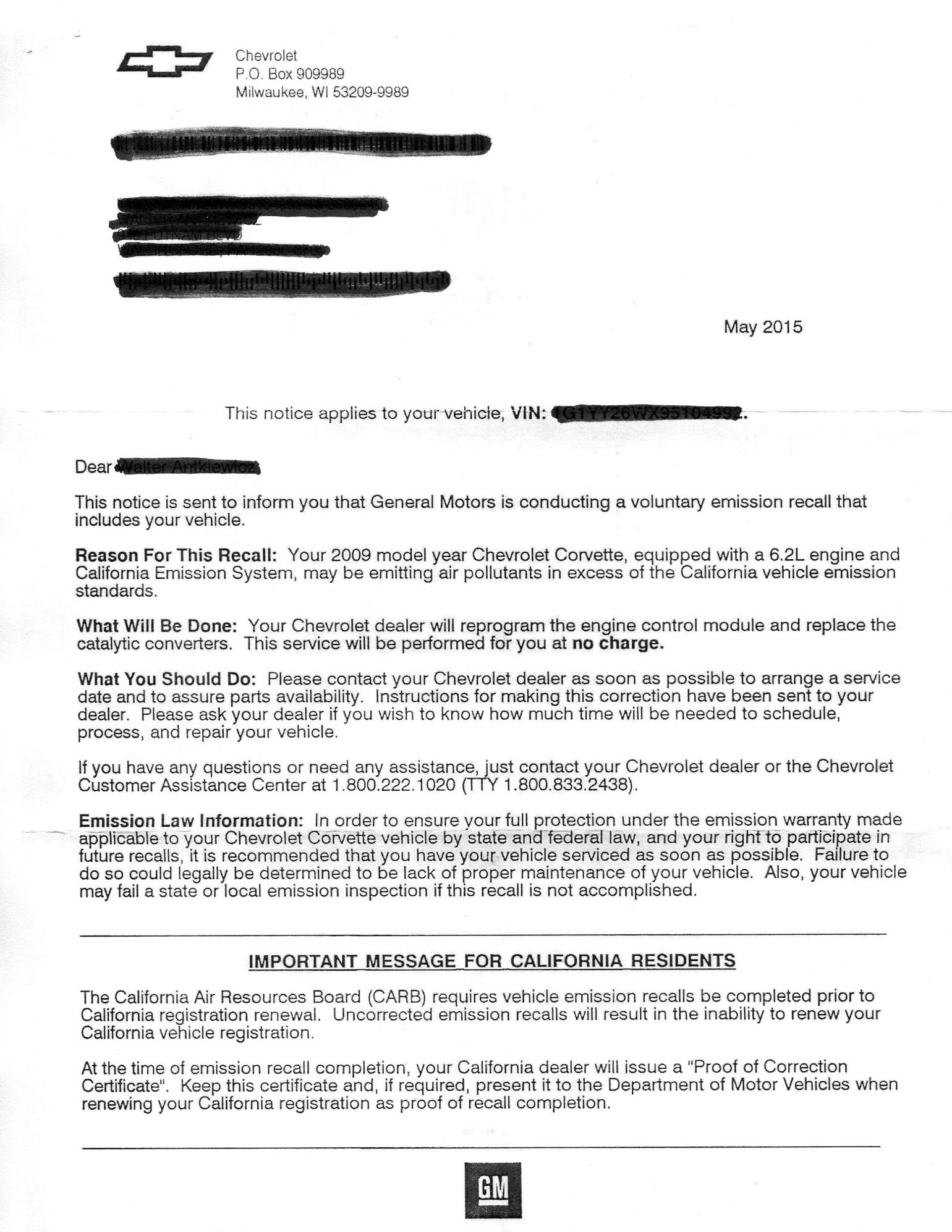 Emission recall corvetteforum chevrolet corvette forum discussion here is the actual recall letter thecheapjerseys Choice Image