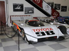 This was at the Legends of Riverside I, March 27-29, 2009. Saw it run at Del Mar IMSA GTP in the early '90s and at Fontana on June 27, 2009. This is one fast turbocharged, 2.1 liter, 680 HP, four cylinder Toyota. Dan Gurney/Carroll Shelby All American Racers. This car is now owned and historic raced by Tom Malloy.