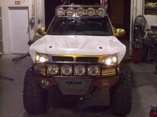 F150 3 Custom SGM lightrack and Prerunner bumper (17 HELLA lights total)