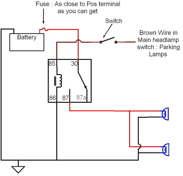 in you case, you would get the pin and wire from a headlamp switch from the  junk yard, and use the factory switch in place of the switch in the diagram