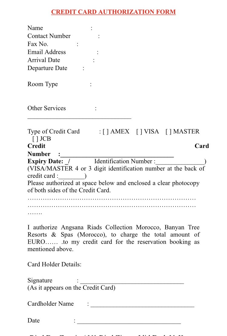 Authorization Form For Credit Card Guarantee Flyertalk Forums