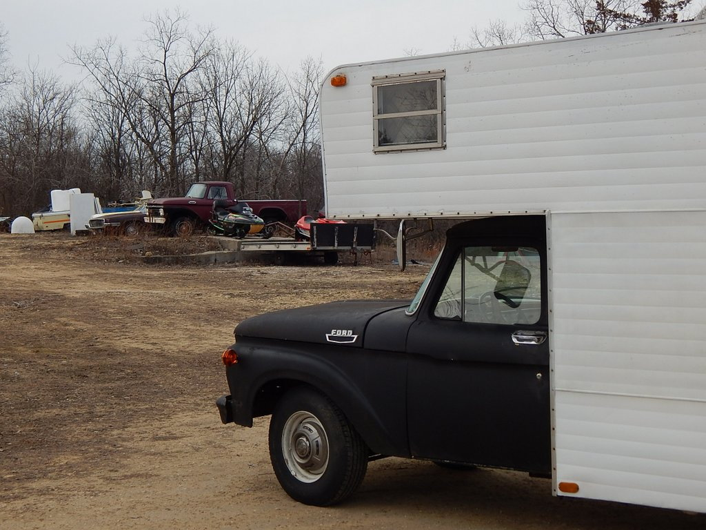 1964 Ford F250 Camper Truck Enthusiasts Forums F 250 Special 1963 F100 4x4 223 I6 4 Speed Behind That Is A Four Door Suicide 1968 Thunderbird With The 429 Thunderjet Engine Both Of Them Run