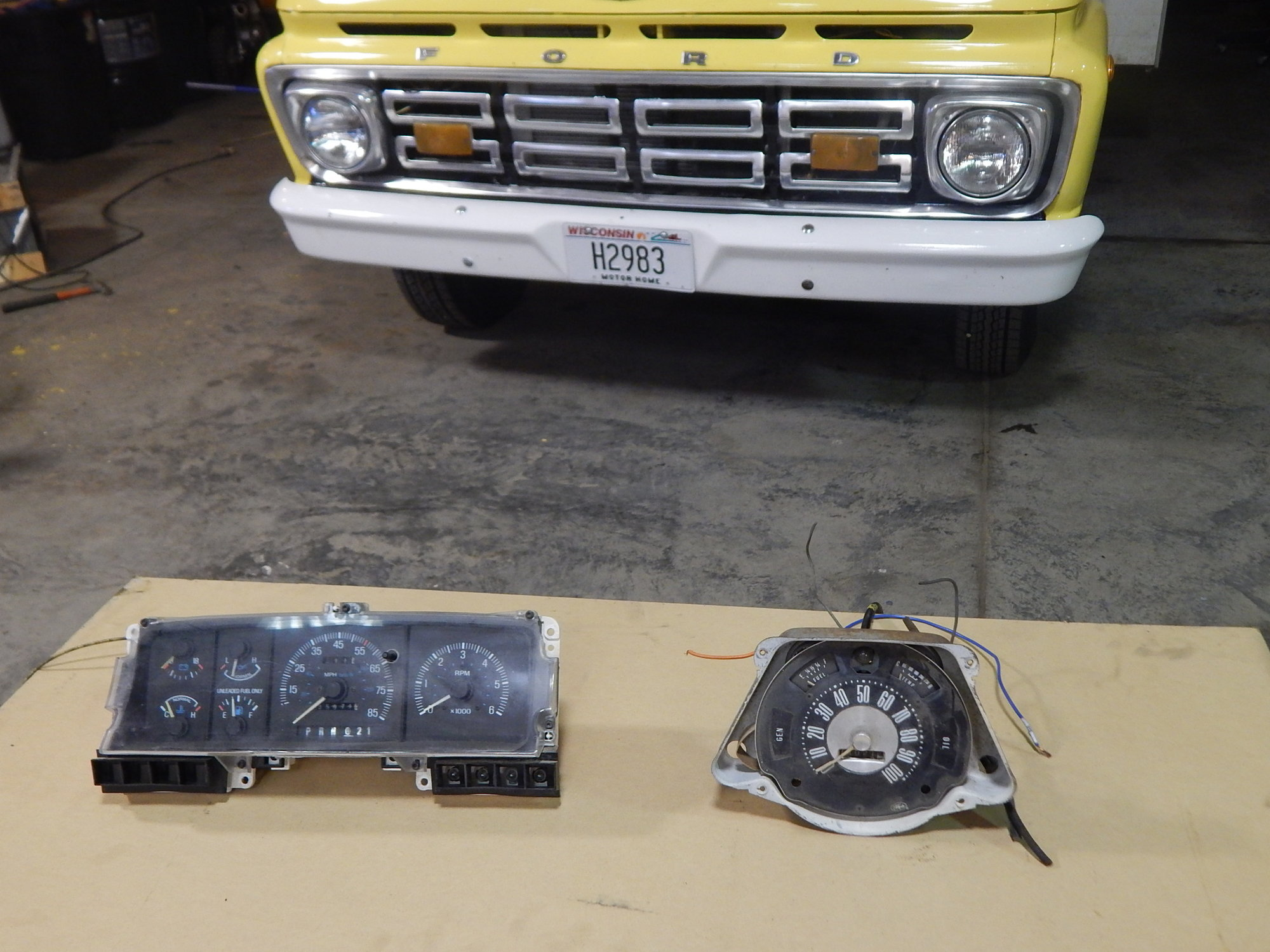 Speedometer Cable From 1989 F250 To 1964 Ford Truck F 250 Dash The On Left And Right
