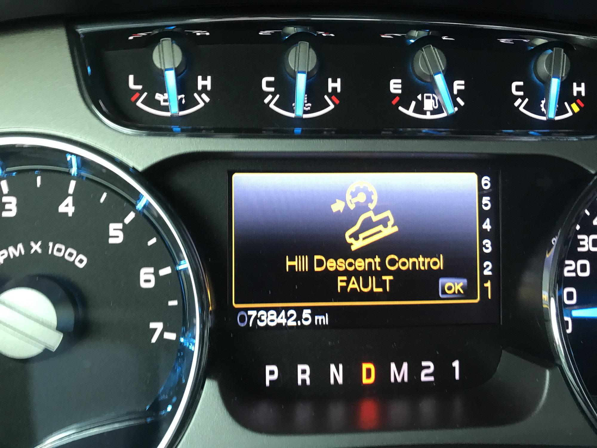 Hill descent control fault, service AdvanceTrac warning