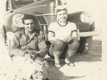 Momaw and popaw in 1947 in front of a 1940 Ford. They met in the 3rd grade, were married 65 years and died 12 days from each other.