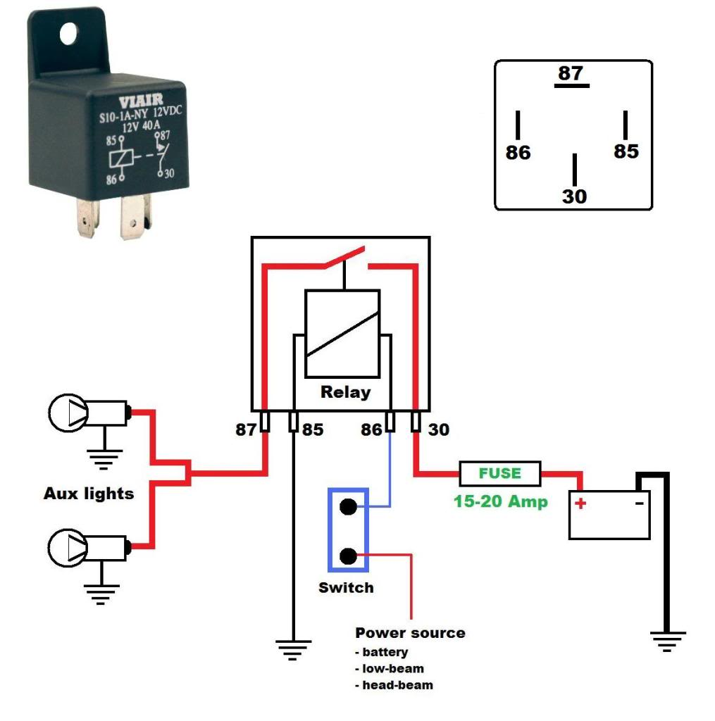 Here's a wiring diagram on how to wire aux lights using a relay: