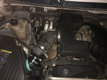 """So I put the air filter box and put the aluminum aftermarket tube/filter. I put the original vortex  box and hose and i tried to clamp the plastic tube to the cut maf sensor tube and it's working now but it has bogging and also when I completely stop it shows """"oil"""" on the odometer and the oil light comes on, when I step on the gas it goes away. I'm just gonna try and find a stock filter or something at the junk yard, sucks but I don't trust aluminum intakes anymore."""