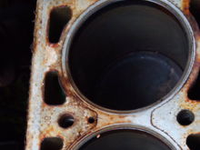 brown discoloration on block around cylinder number three