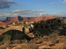 Camped at Ekker Butte, Maze District, Canyonlands, UT.  Both Jeeps have similar Shrockworks bumpers and rock rails.