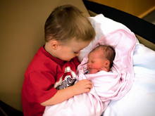 "Big brother meeting ""his baby"" for the first time"