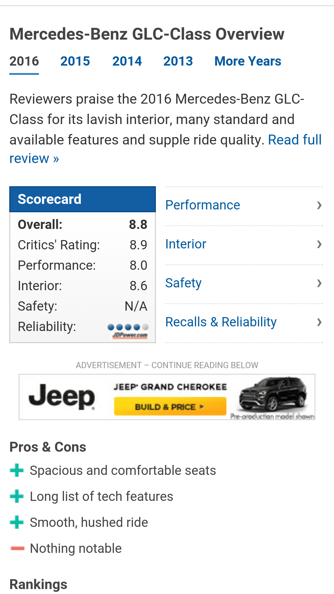 News And World Report S Best Cars That Jd Has Released The Predicted Reliability Rating Of 4 Circles Above Average For New Glc Suv