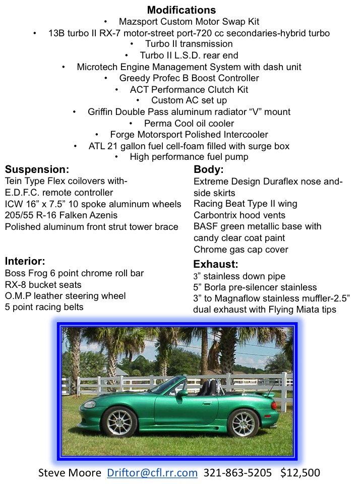 For Sale 1999 13bt rotary swap Miata-mx5 - NoPistons -Mazda