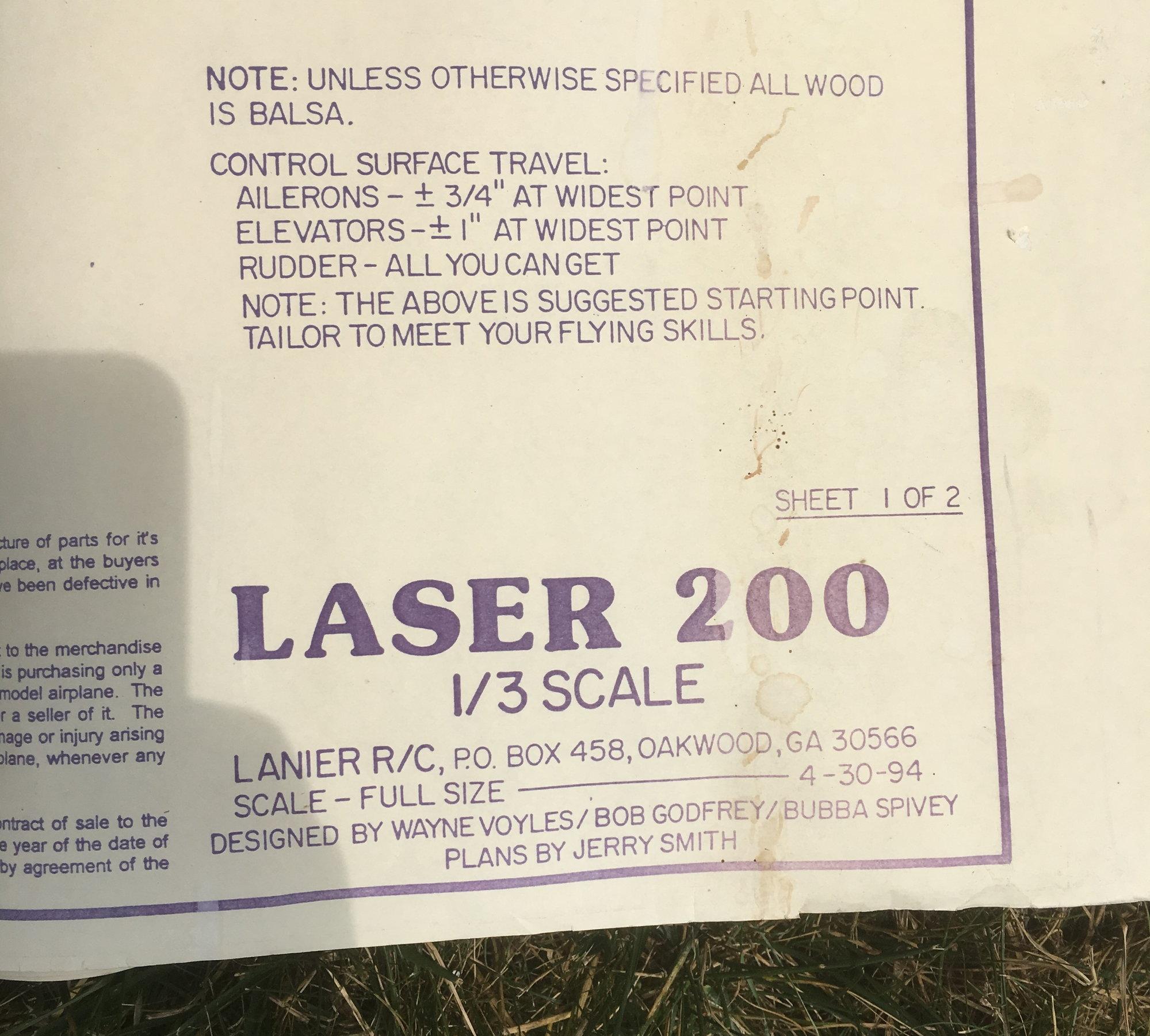 1/3 scale Laser 200 - Godfrey / Lanier - TOLEDO SHOW