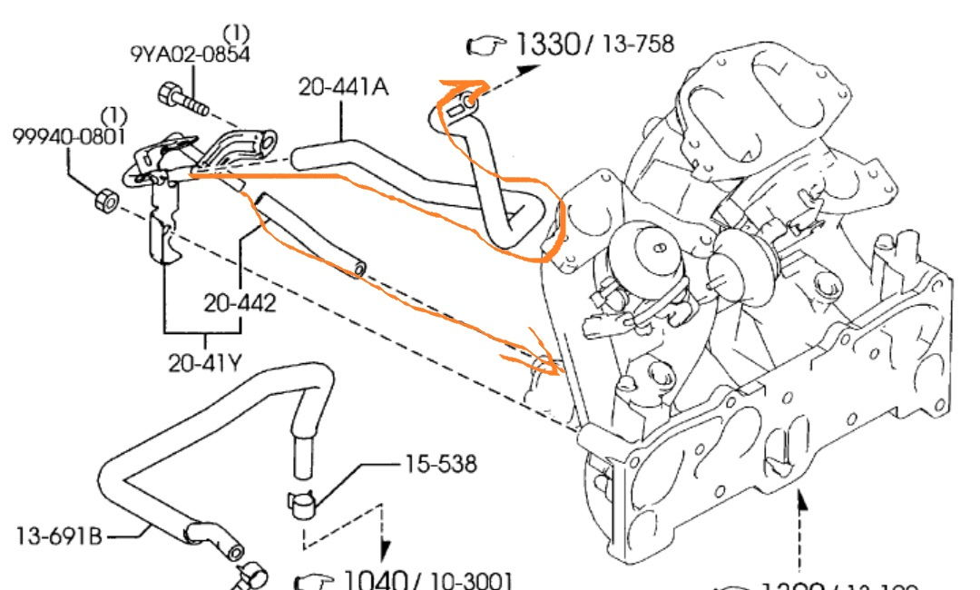 Saab 9 3 Water Pump Diagram further 2000 Vw Tdi Vacuum Line Diagram additionally 2000 Hyundai Purge Diagram Handyalso The Evap Canister Location besides 5 0 Pcv Valve System additionally Rx8 Engine Bay Diagram. on saab 9 5 vacuum pcv diagram